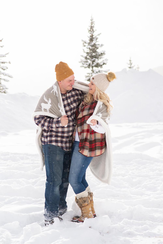 Warm Blanket Winter Engagement Photos