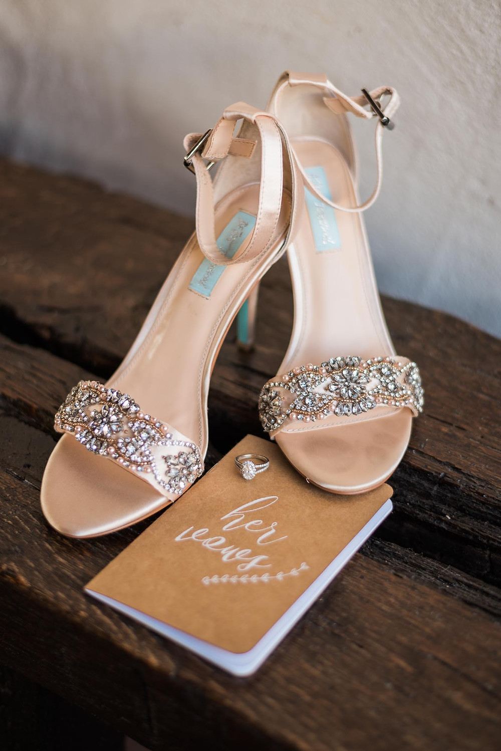 Betsey Johnson Bridal Shoes and Rustic Vow Book
