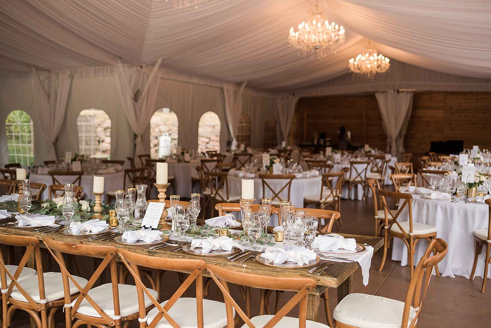 White and Gold Reception Decor in Tent at Wedgewood Boulder Creek