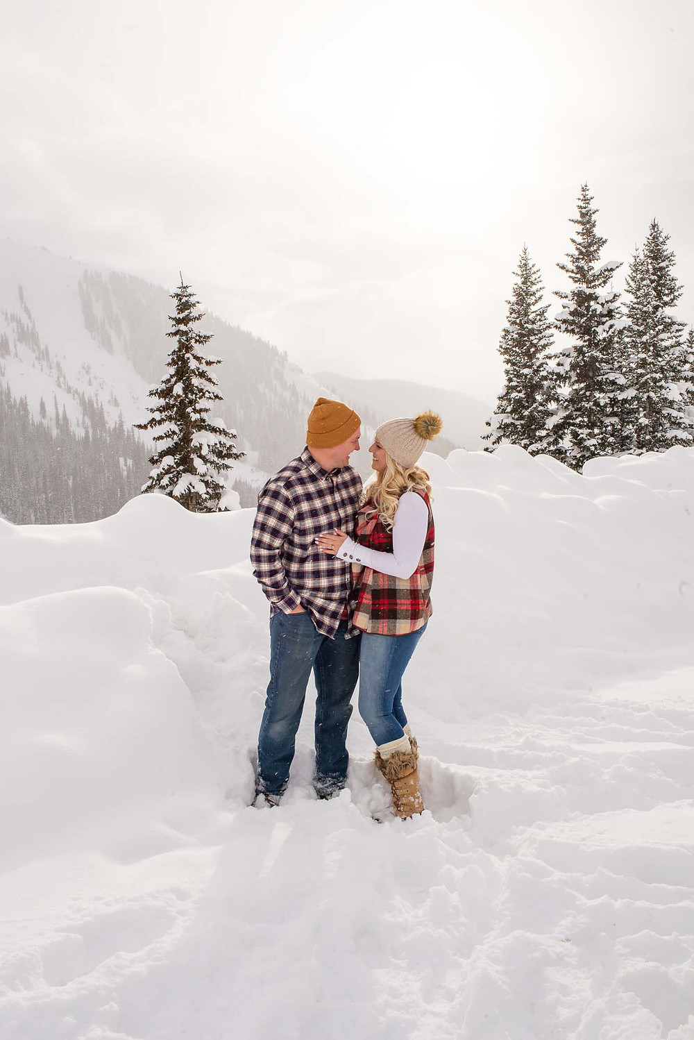 Afternoon Engagement in Colorado Snowy Winter