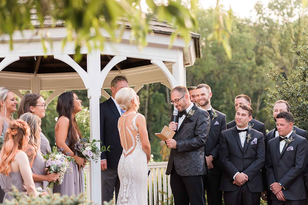 Groom Reads Vows at Brandywine Manor House in Pennsylvania