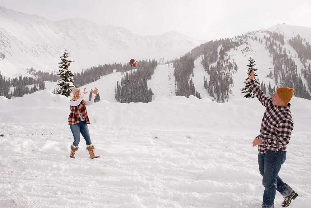 Winter Football Engagement Photos