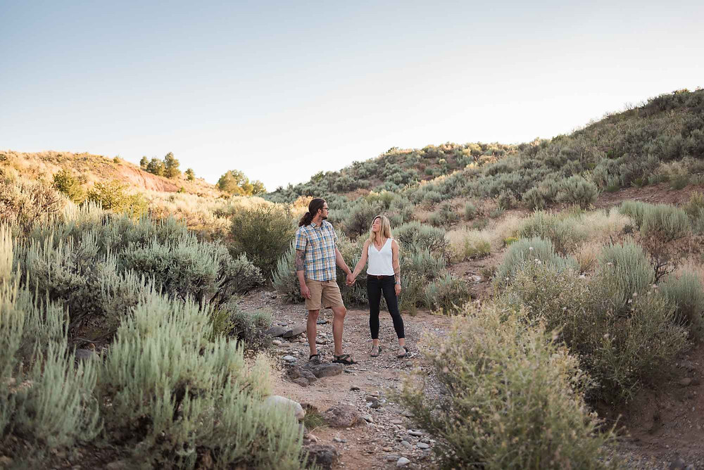 Golden Hour Taos Desert Engagement Session