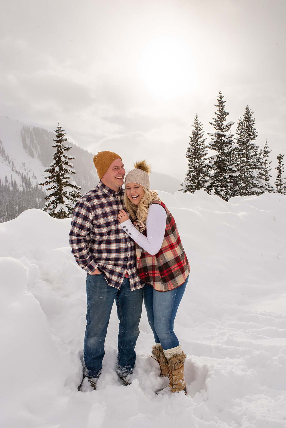 Happy Winter Engagement Photos in Plaid