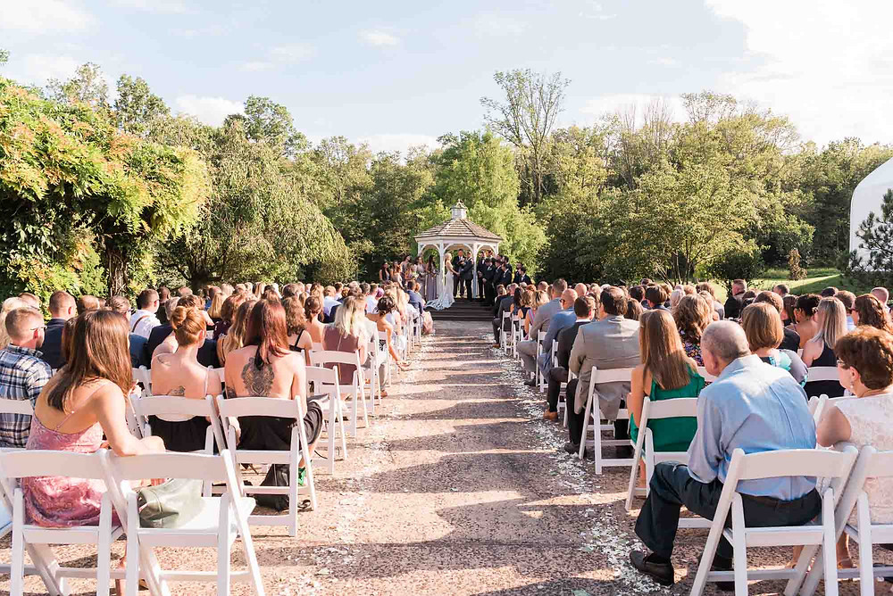 Wide Shot of Ceremony at Brandywine Manor House in Pennsylvania