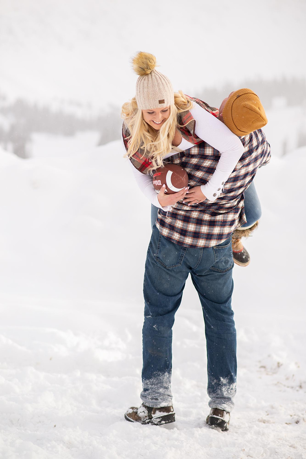 Engagement Photos with Football Tackle