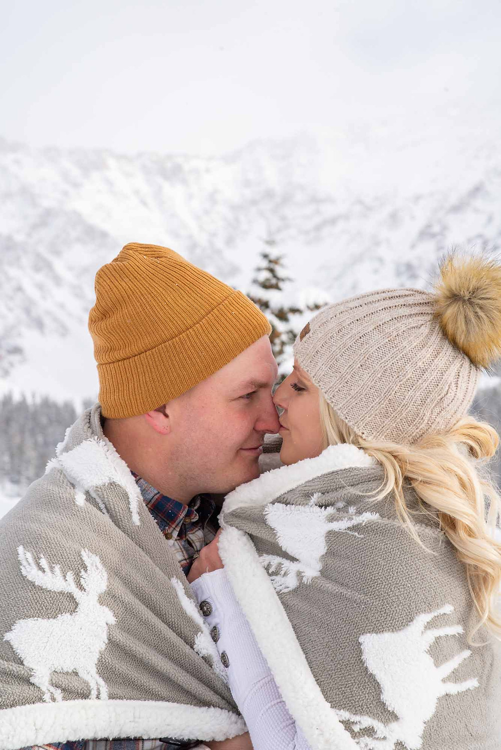 Winter Blanket for Engagement Photos