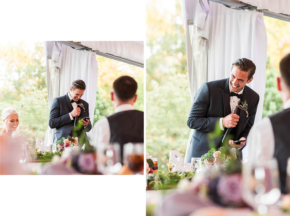 Best Man Speech in Tent at Brandywine Manor House