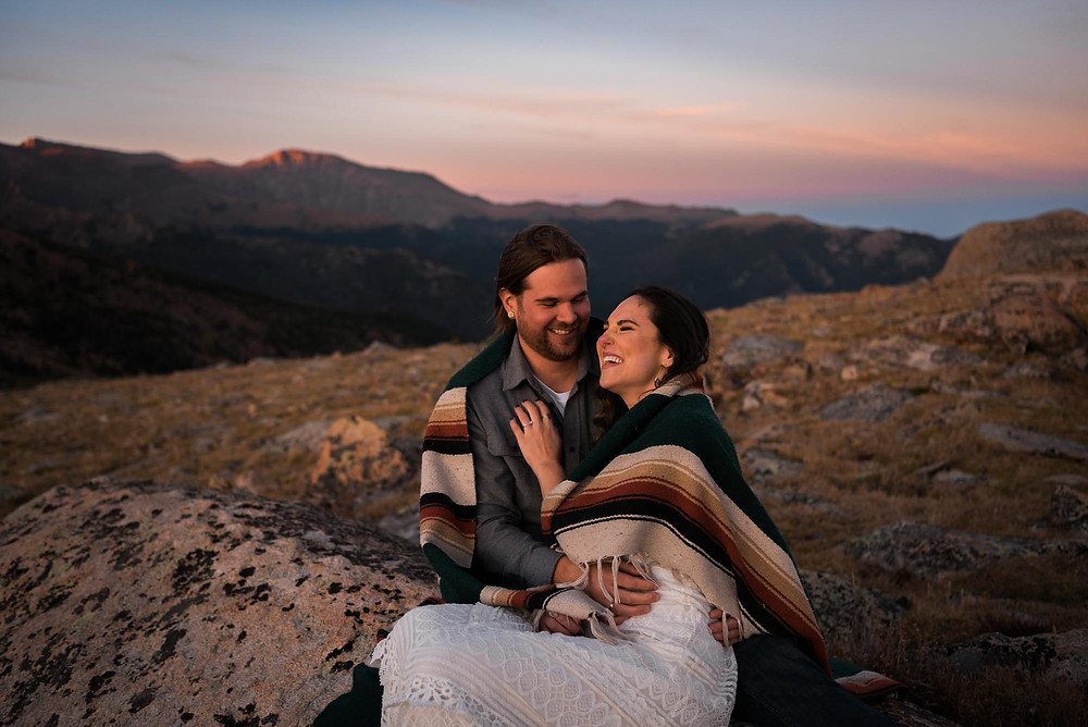 Couples Wrapped in Pendleton Blanket for Colorado Mountain Engagement Session