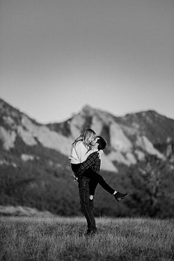 Engaged couple in black and white in boulder, colorado
