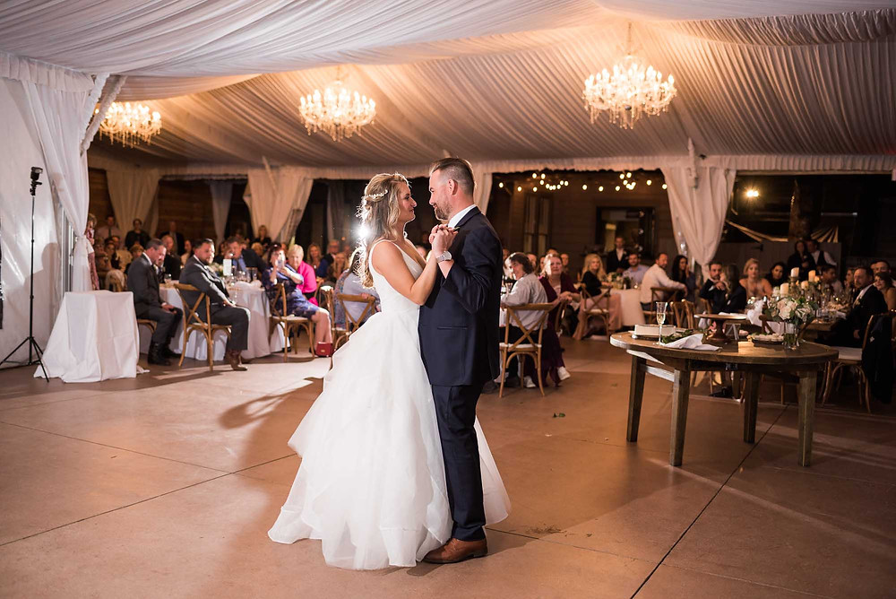 First Dance in White Tent at Wedgewood on Boulder Creek