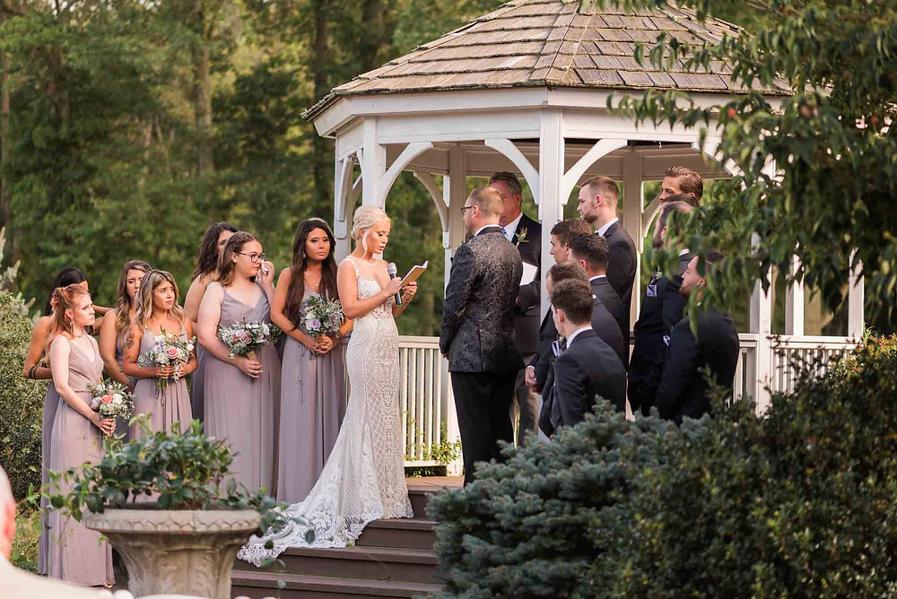 Bride Reads Vows at Brandywine Manor House in Pennsylvania