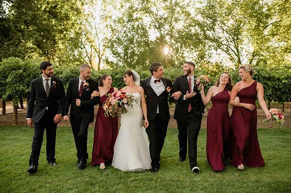 Wedding party at vineyard in Colorado