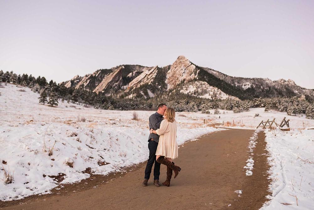 Chautauqua Flatirons Winter Engagement Photos