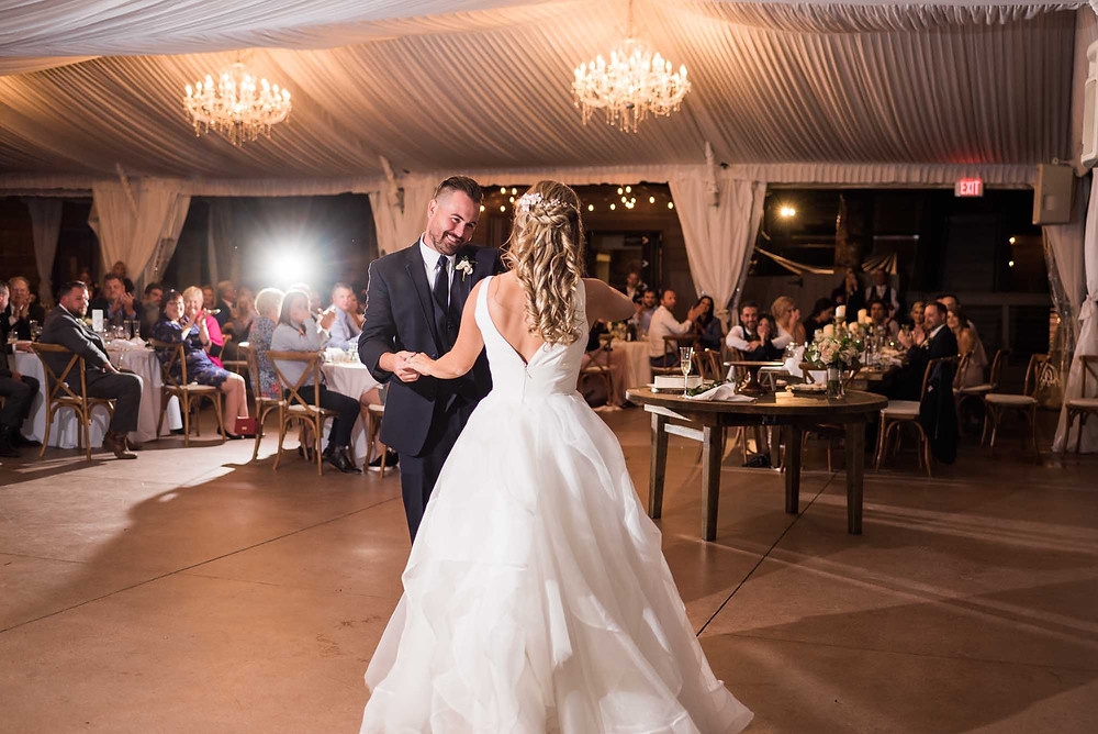 Bride and Groom Dance in Tent at Wedgewood on Boulder Creek