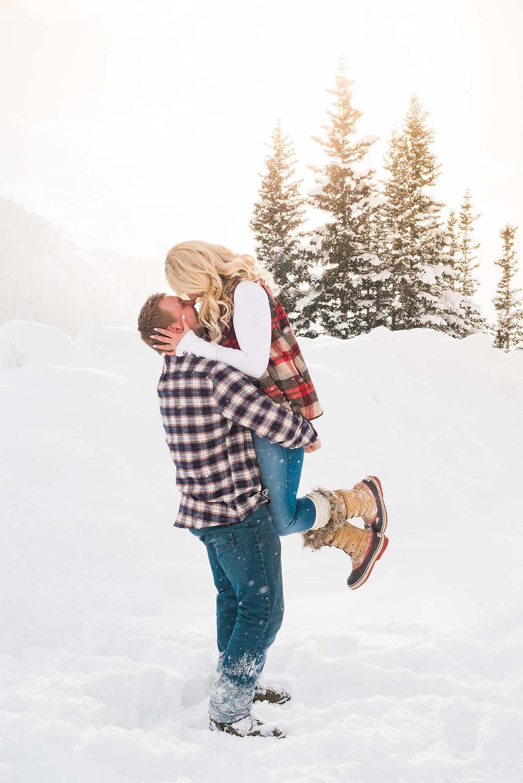 December Engagement at Loveland Pass Colorado