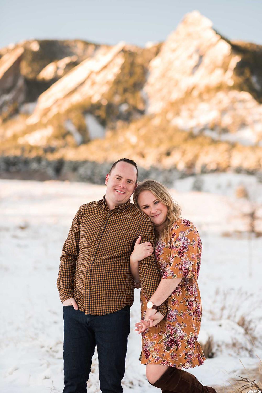 Chautauqua Boulder Winter Engagement Photos