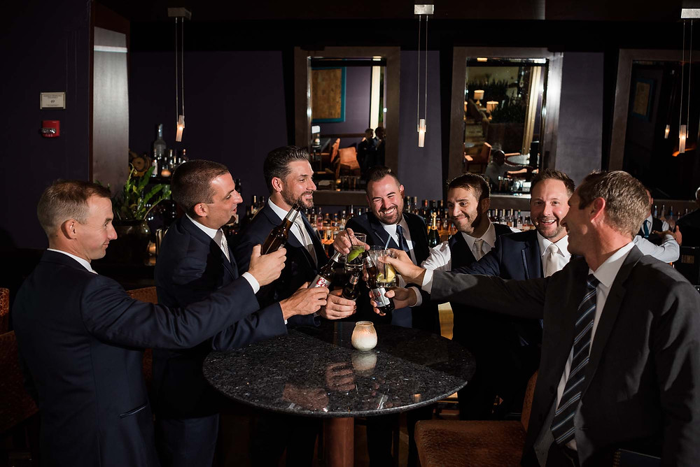 Groomsmen Toasting in T-Zero Bar at St. Julien Hotel