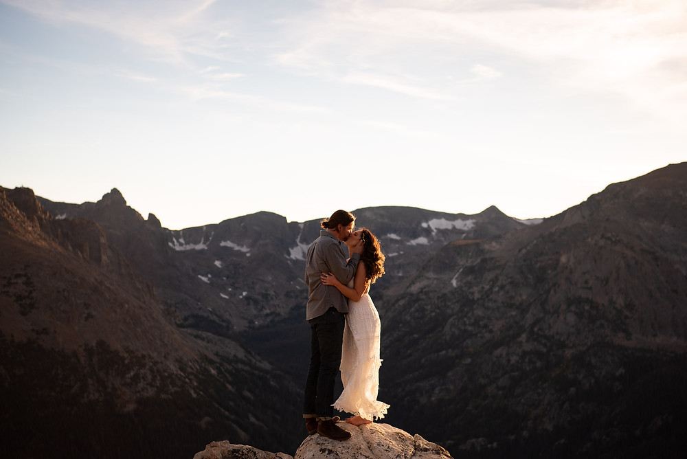 Barefoot Bride in Rocky Mountain Engagement Photo