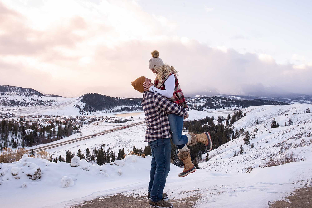Sunset in Dillon Colorado Engagement