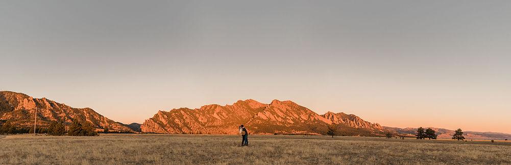 panorama of boulder, colorado at sunrise