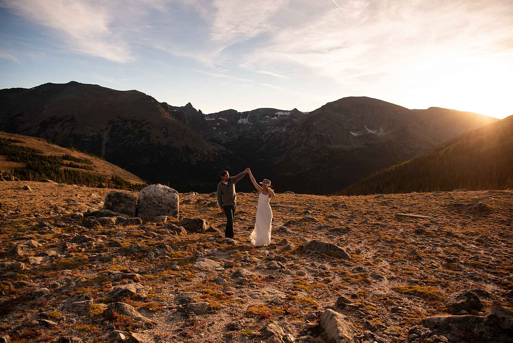 Engaged Couple Dancing at High Altitude Photo Session