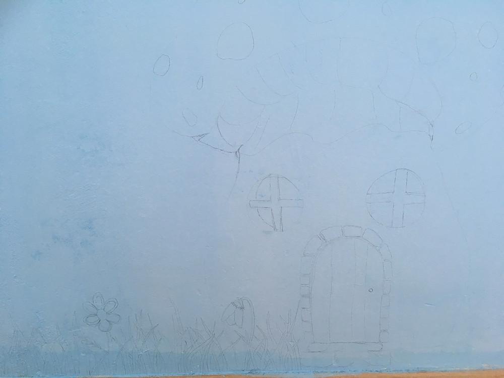 Skizze des Pilzhauses