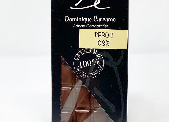 Tablette de chocolat Noir Pérou 63%