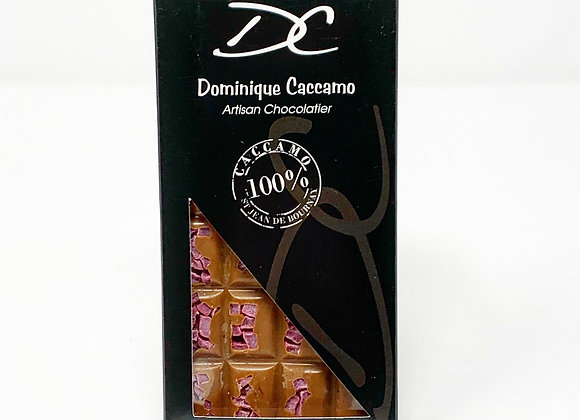 Tablette de chocolat au lait framboise 35%