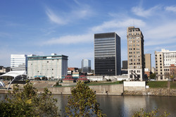 Charleston, West Virginia skyline seen during fall afternoon