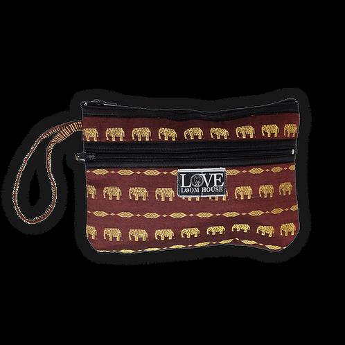 Burgundy Elephant Wristlet