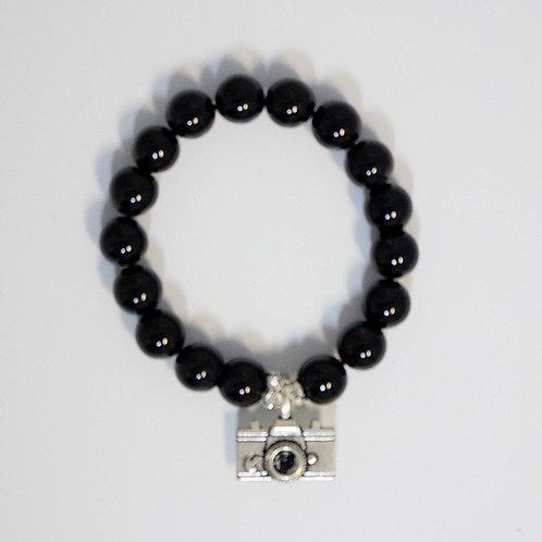 Black Camera Charm Bracelet