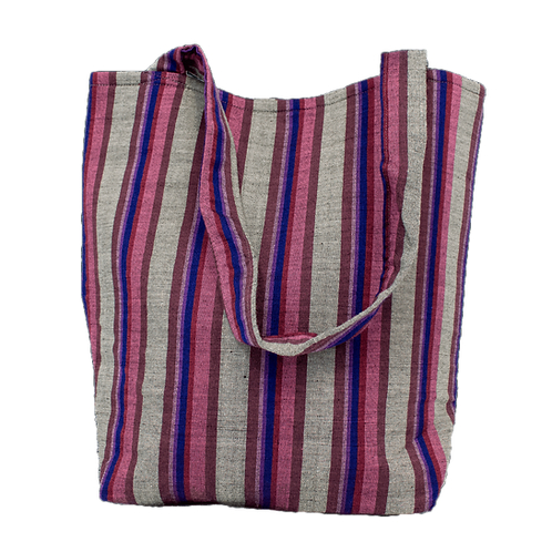 Grey, Pink & Purple Vertical Stripe Tote Bag