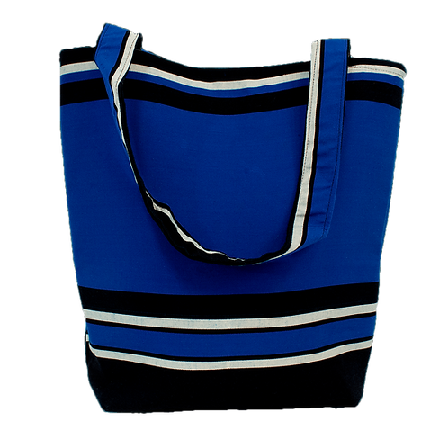 Blue with Black & White Horizontal Stripe Tote Bag