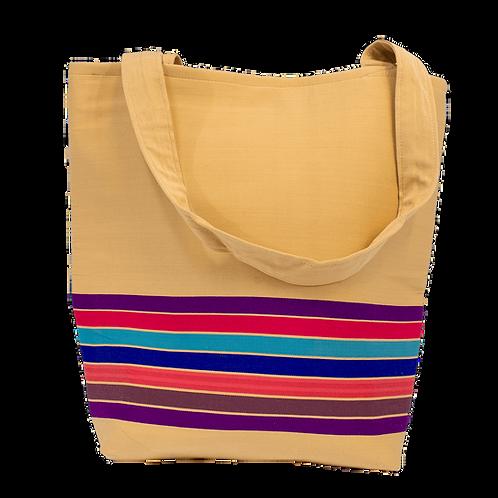 Cream Tan with Rainbow Horizontal Stripe Tote Bag