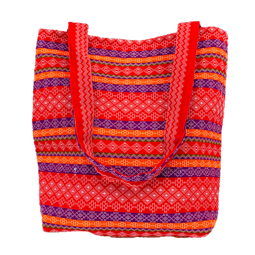 Red, Orange, and Purple Checker Diamond Pattern Tote Bag