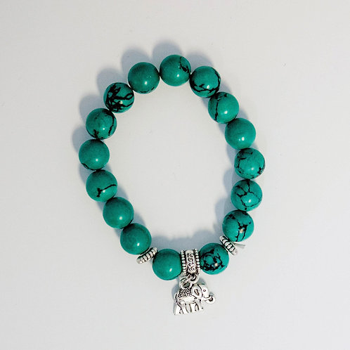 Green Elephant Charm Bracelet
