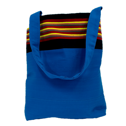 Blue with Red, Yellow, Black Stripe Tote Bag