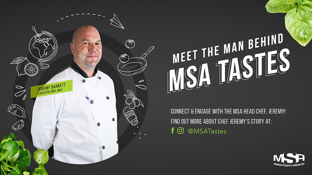 A promotional graphic advertising MSA Tastes' social media pages.