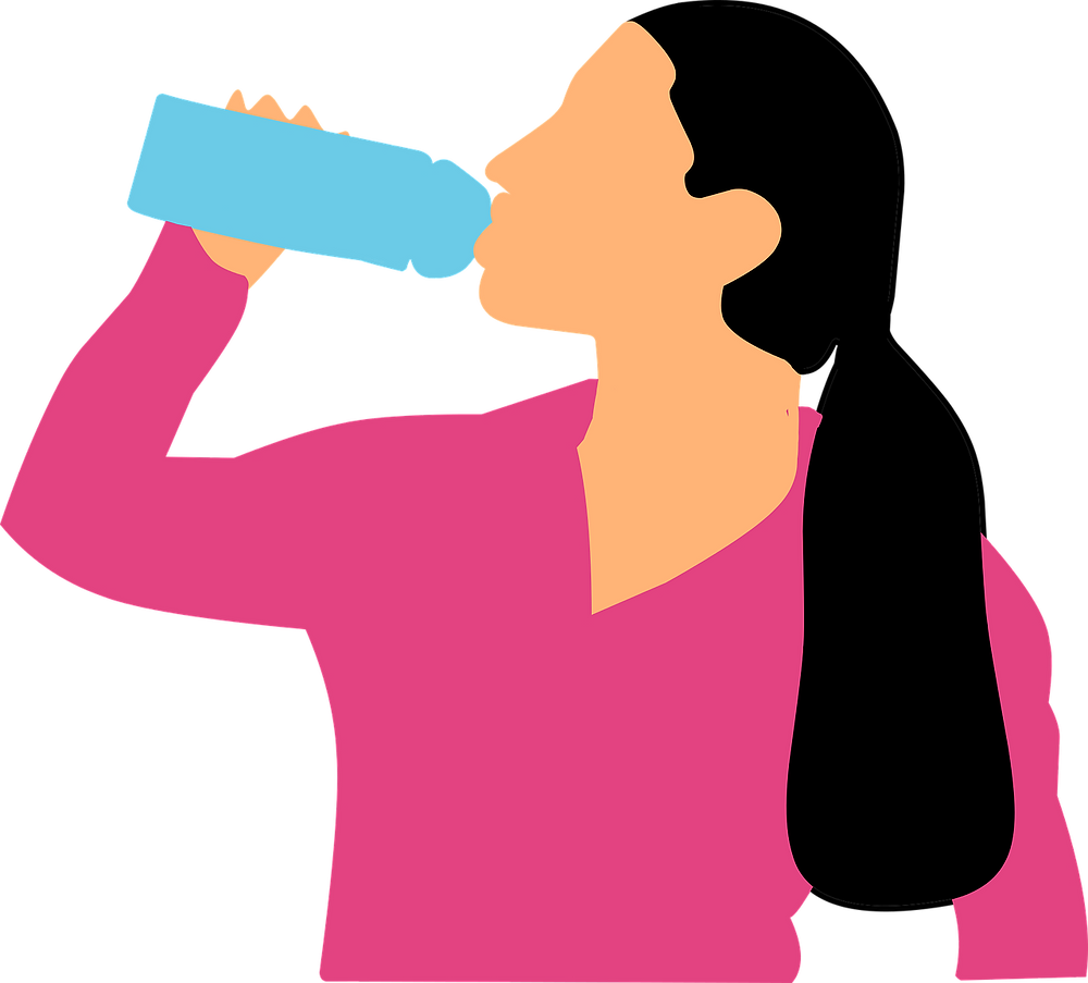 A woman drinking a bottle of water.