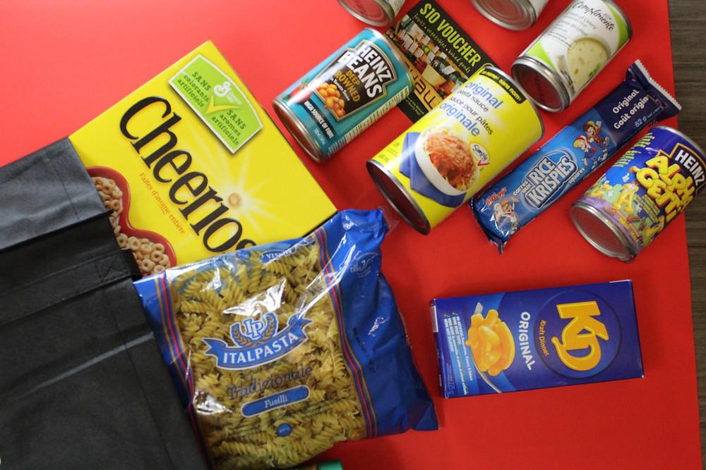 An assortment of non-perishable food items.