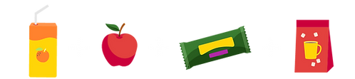 Collection of colourful icons - a juicebox, apple, granola bar and bag of hot chocolate mix