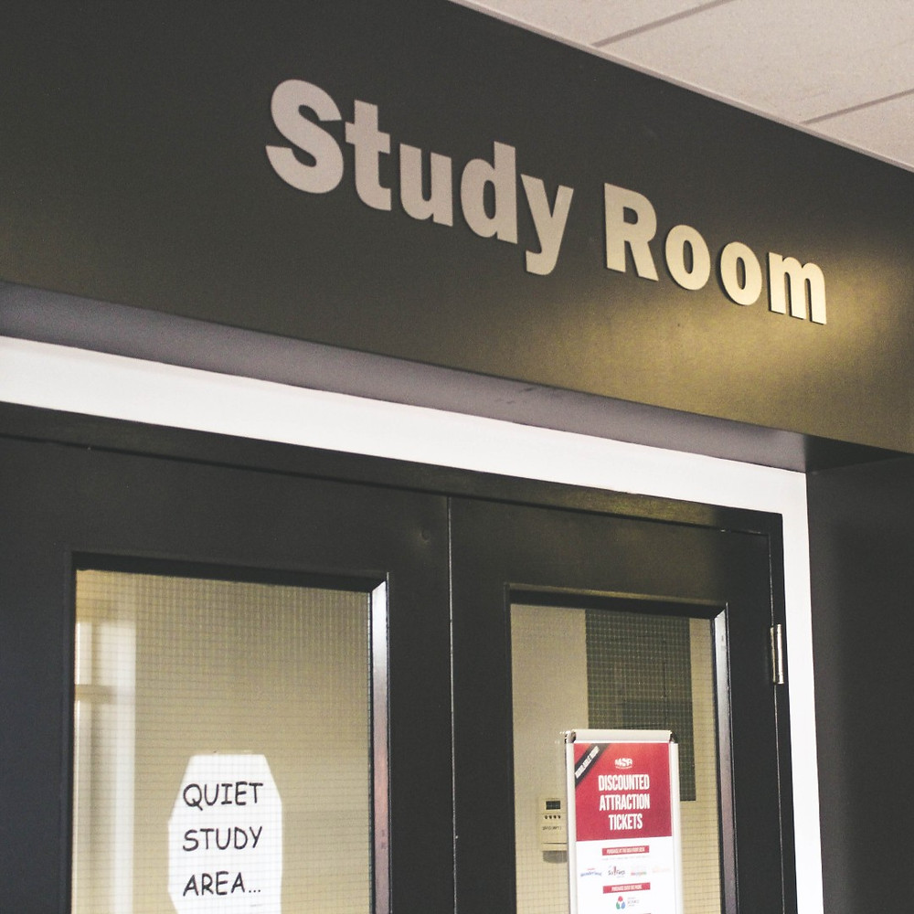 The door leading into a study room.