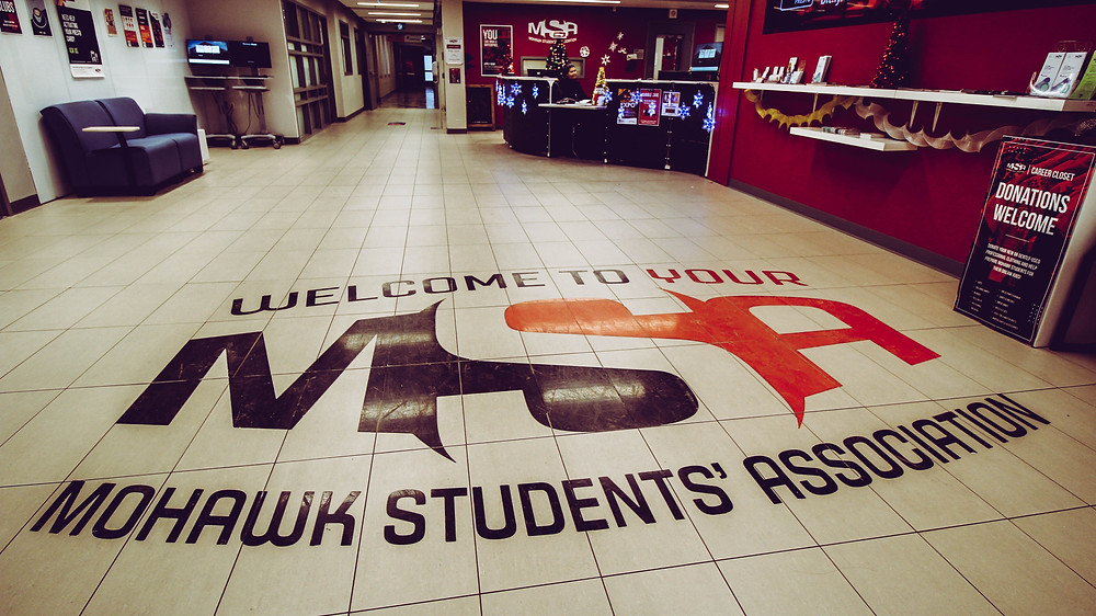 The front desk of the MSA at Mohawk College's Fennell campus.