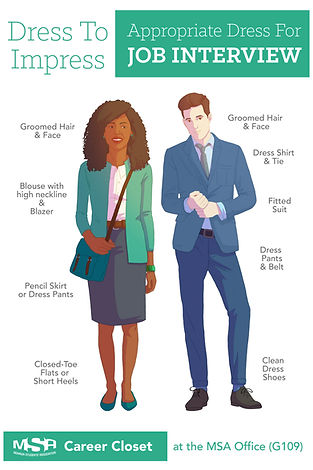MSA Career Closet What To Wear For a Job Interview Posters