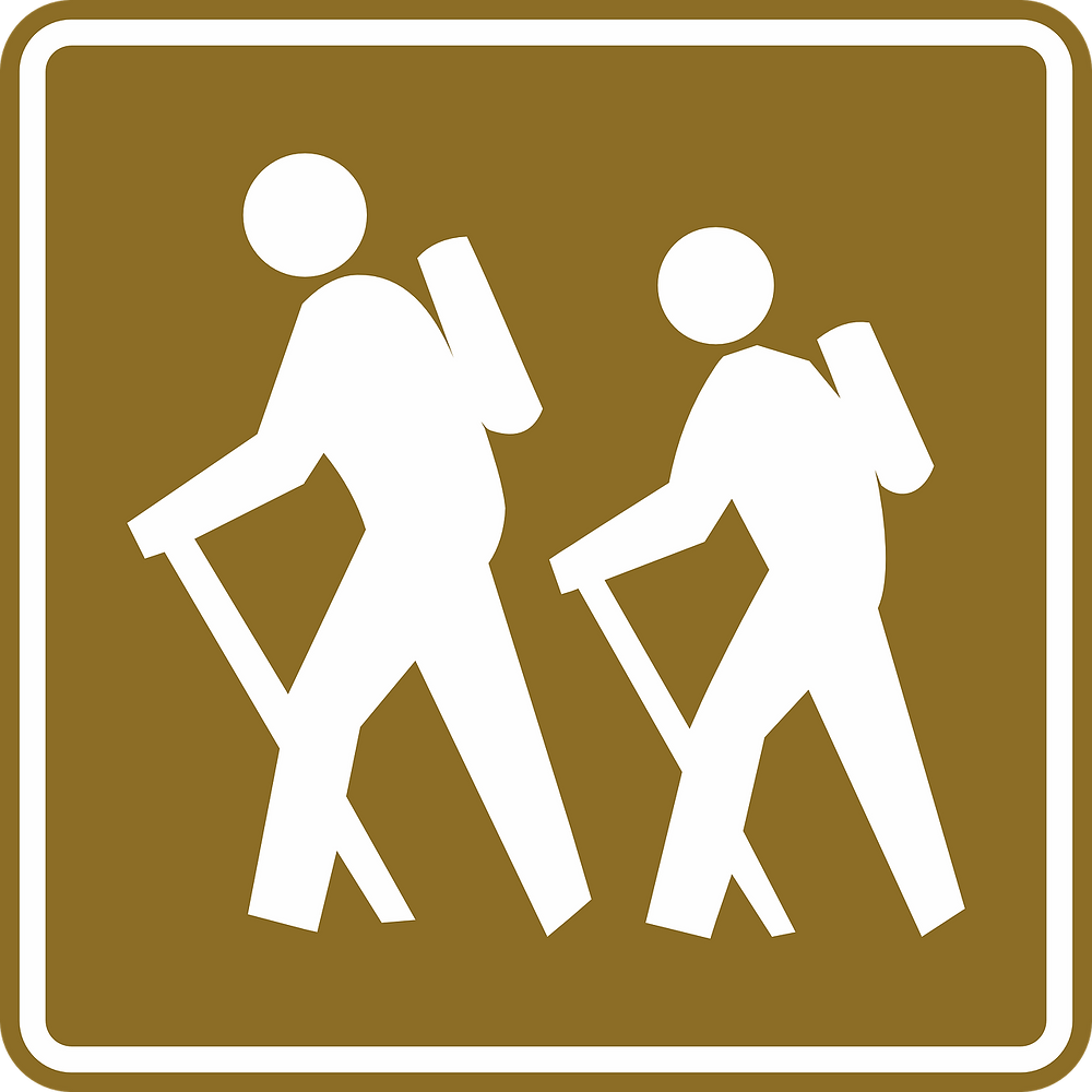A hikers road sign.
