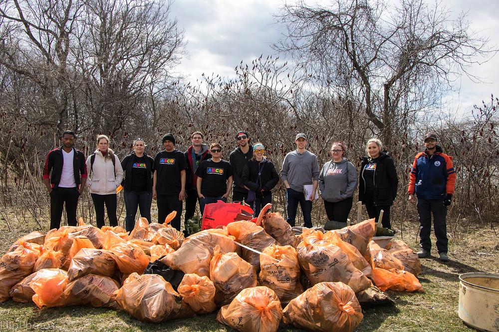 Students volunteering in the Hamilton community.