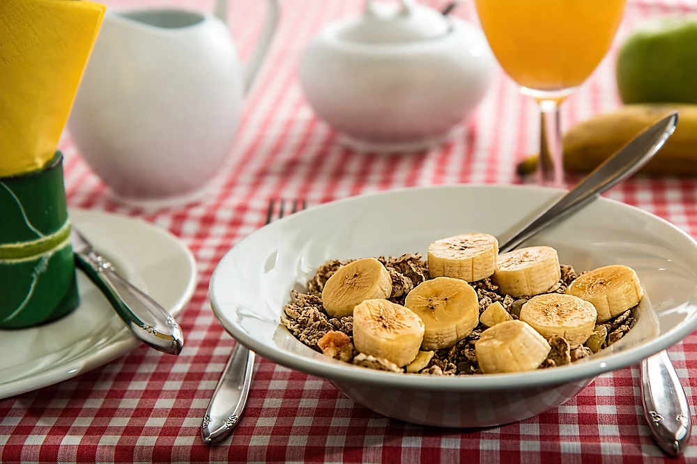 A bowl of cereal with bananas on top of it.