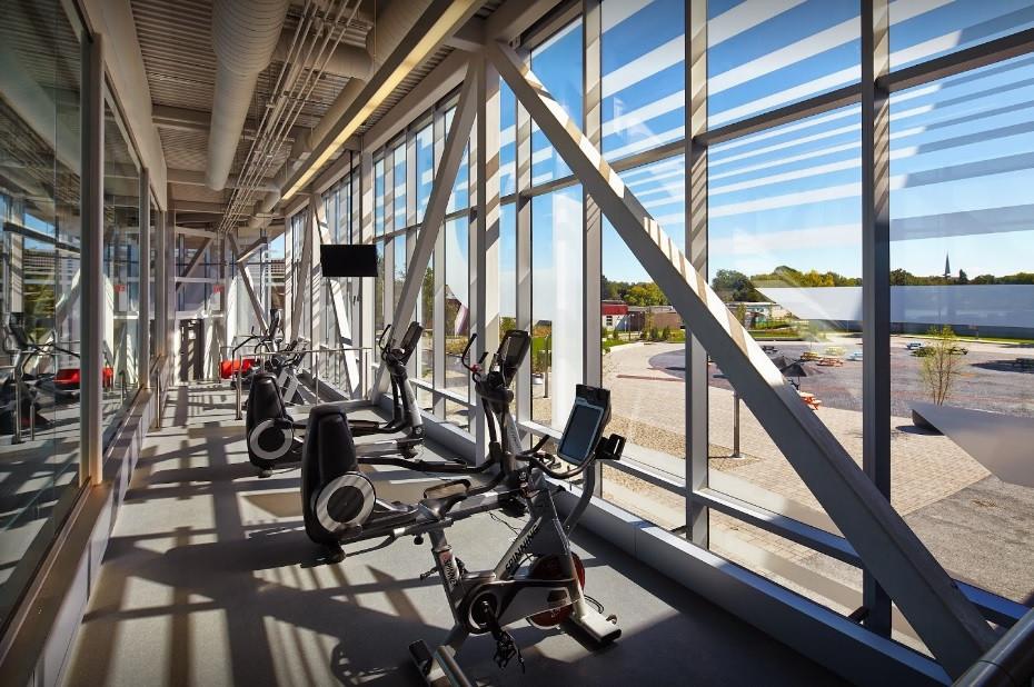 Equipment at a gym facility.