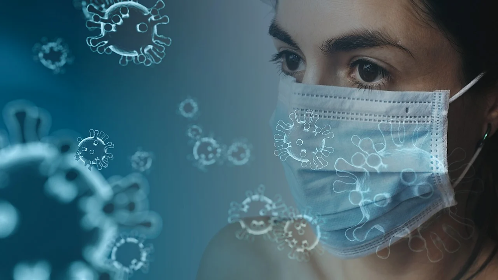 A woman wearing a mask around germs.